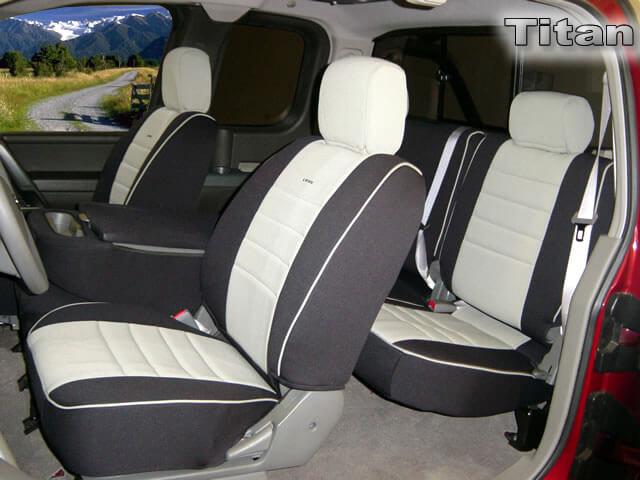 Custom Fit Seats Covers Red Neoprene Fabric Nissan Titan 40-20-40 Style